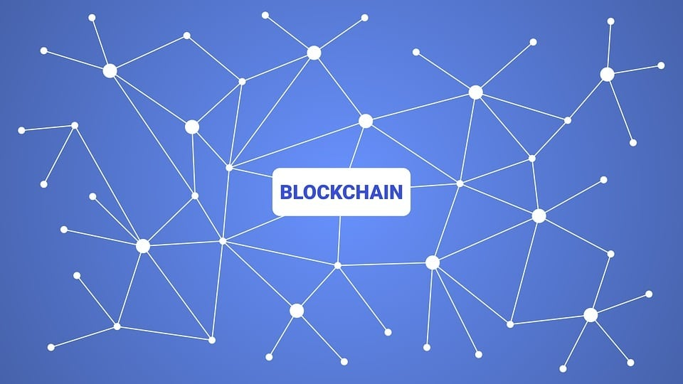 blue and white blockchain illustration