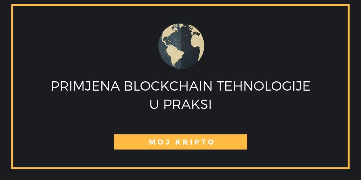 """crni kvadrat sa bijelim tekstom u sredini """"primjena blockchain tehnologije u praksi"""""""