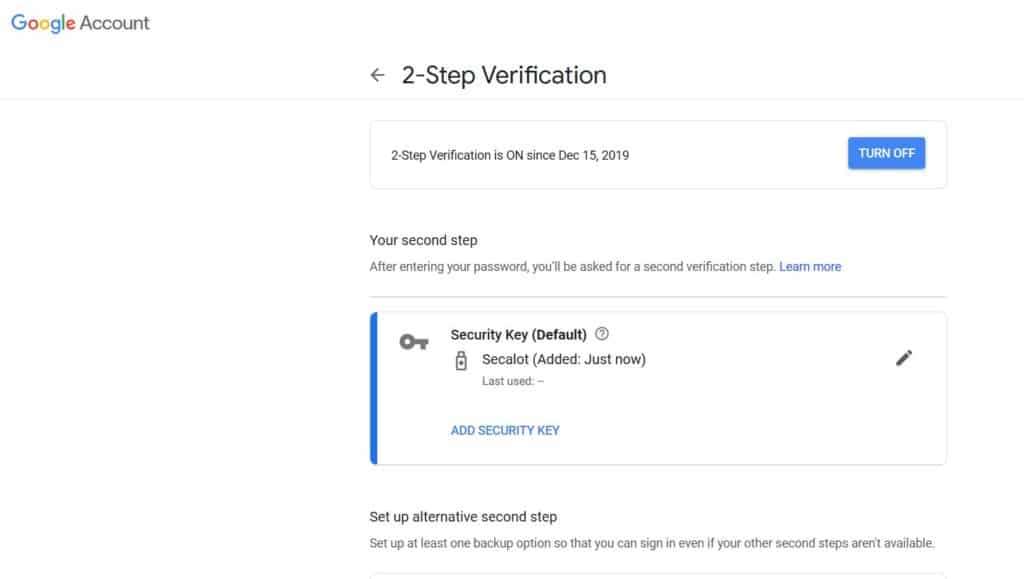 Secalot Google authentifikator