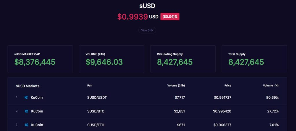 Synthetix Dashboard