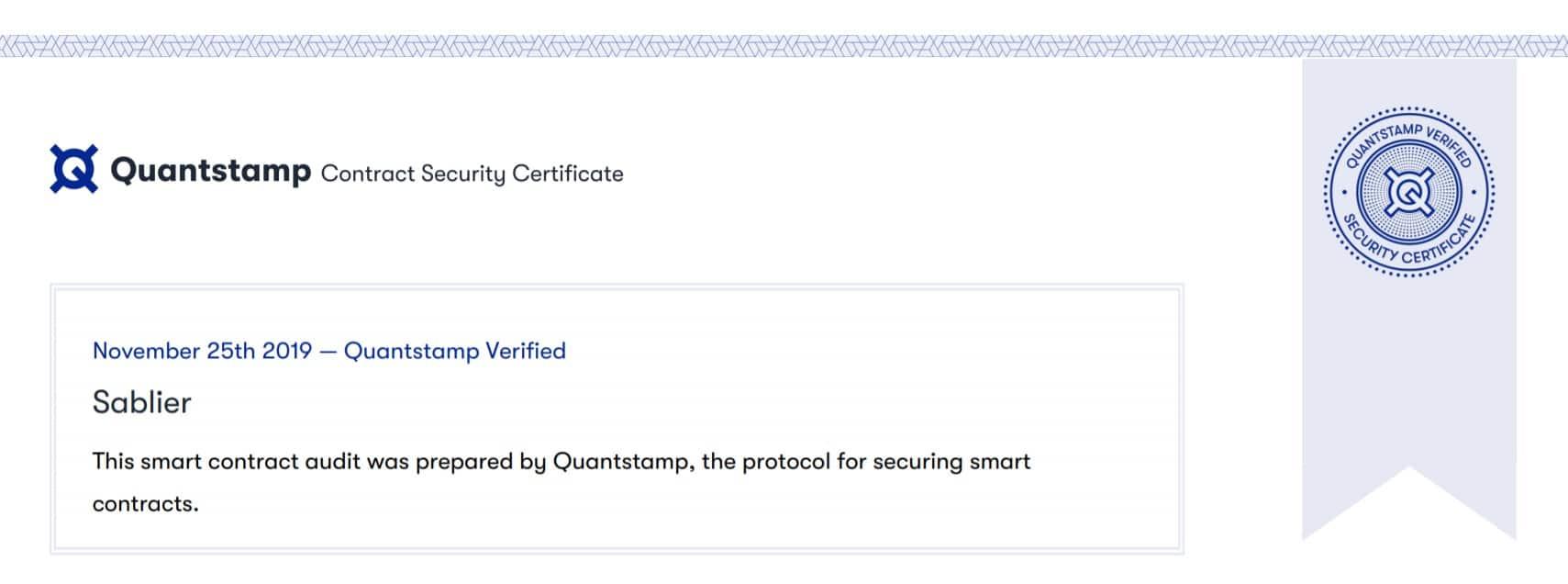 quantstamp certificate